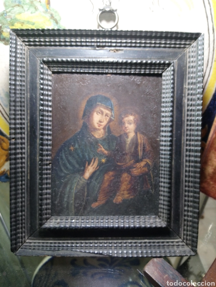 Arte: Siglo XVIII Virgen con Niño óleo sobre cobre marco original - Foto 2 - 161451228