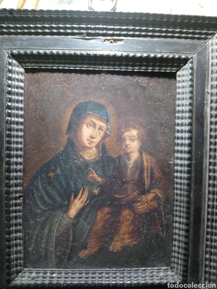 Arte: Siglo XVIII Virgen con Niño óleo sobre cobre marco original - Foto 4 - 161451228