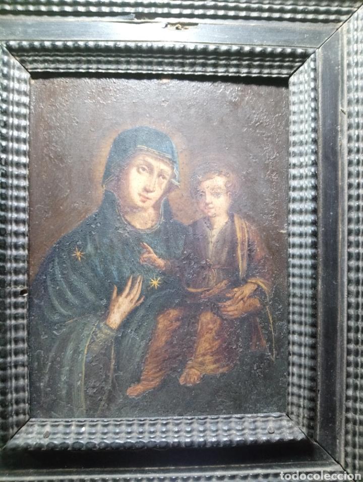Arte: Siglo XVIII Virgen con Niño óleo sobre cobre marco original - Foto 7 - 161451228