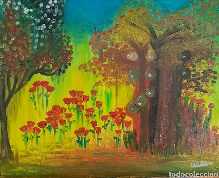 OLEO SOBRE TABLEX 40X50 EL BOSQUE ENCANTADO. OBRA ORIGINAL CATALINA FRANCO. (Arte - Pintura Directa del Autor)