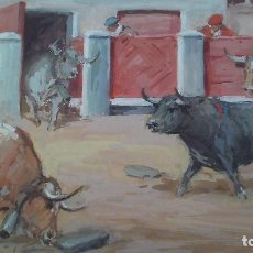 Arte: MARTI FONT PINTURA ORIGINAL TAURINA FIRMADA,PINTOR VILLA REAL,MAESTRO EN CARTELERIA TAURINA Y TOROS. Lote 161589338