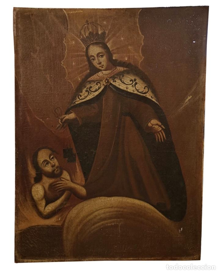 VIRGEN DEL CARMEN RESCATANDO ALMAS DEL PURGATORIO, OLEO SOBRE LIENZO .SIGLO XVII (Arte - Pintura - Pintura al Óleo Antigua siglo XVII)