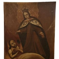 Arte: VIRGEN DEL CARMEN RESCATANDO ALMAS DEL PURGATORIO, OLEO SOBRE LIENZO .SIGLO XVII. Lote 161623998