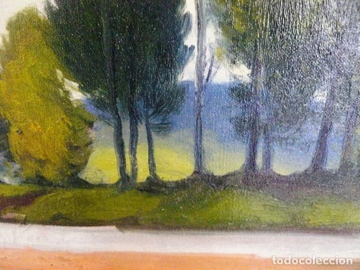 Arte: Antoni Ros y Güell (1873-1954) óleo sobre lienzo Paisaje- firmado - Foto 6 - 161678426