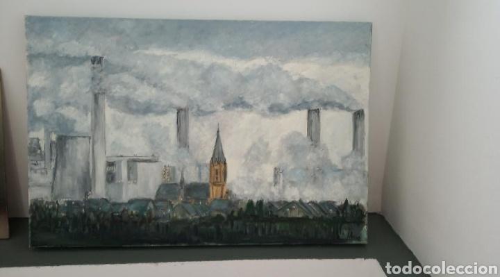 Arte: cuadro pintura óleo contemporáneo lienzo ciudad - Foto 2 - 161729804
