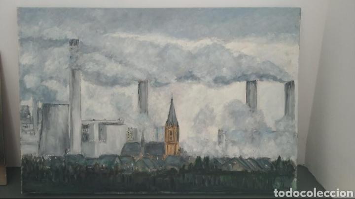 Arte: cuadro pintura óleo contemporáneo lienzo ciudad - Foto 3 - 161729804
