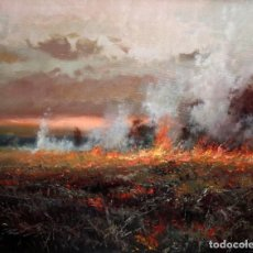 Arte: JOSEP COLOMER I COMAS (SANT FELIU DE PALLEROLS. GIRONA 1935 - 2003) OLEO TELA. PAISAJE CON FUEGO. Lote 161735378