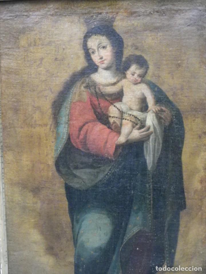 VIRGEN DEL ROSARIO SEVILLANA SIGLO XVII (Arte - Pintura - Pintura al Óleo Antigua siglo XVII)
