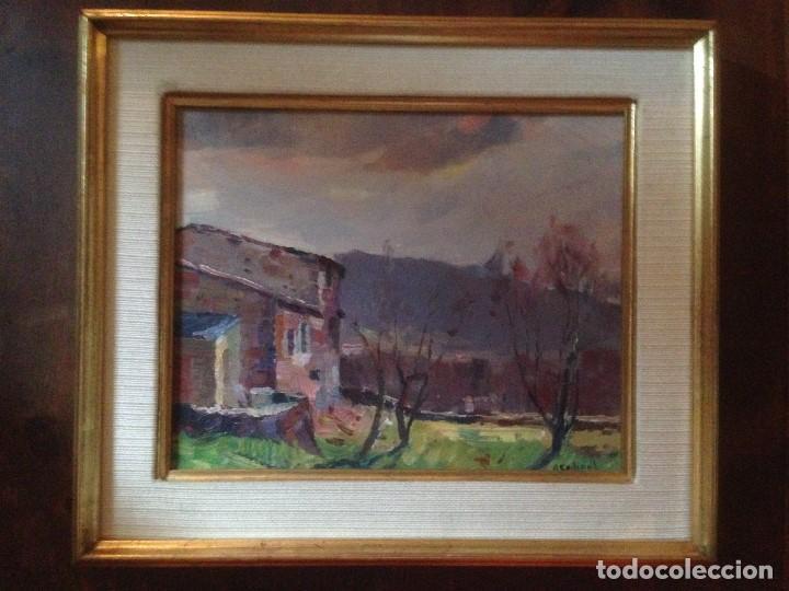 Arte: Codinach Campllong, Angel (Olot 1922-Girona 1995), Paisaje al óleo sobre tábla - Foto 2 - 162063466