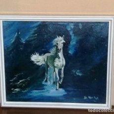 Arte: CUADRO CABALLO BLANCO. PINTURA AL ÓLEO CON MARCO. FIRMADO.. Lote 162158318