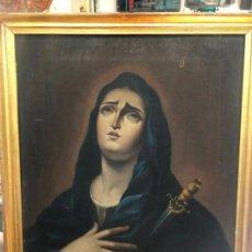 Arte: MAGNIFICO OLEO SOBRE LIENZO IMAGEN VIRGEN DOLOROSA CON MARCO ORO FINO - MEDIDA MARCO 74X59 CM. Lote 162181806