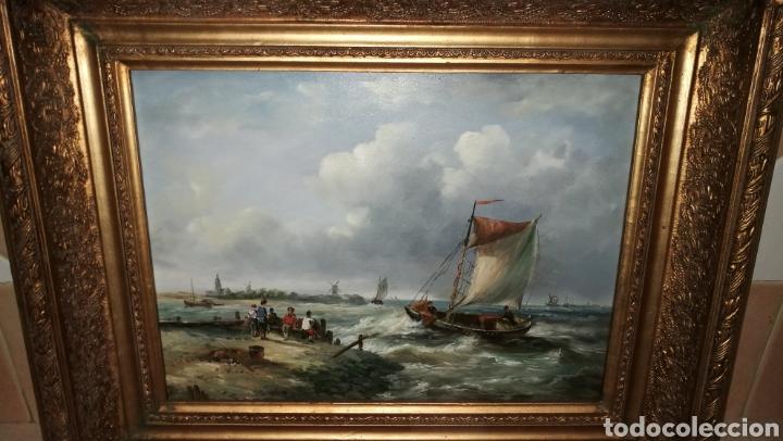 PRECIOSO MARCO DORADO CON PINTURA AL OLEO SOBRE TABLE MOTIVO MARINA (Arte - Pintura - Pintura al Óleo Moderna siglo XIX)