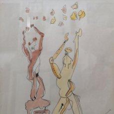 Arte: EUGENIO GRANELL. (CORUÑA 1912- MADRID 2001). EL BAILE. ACUARELA Y TINTA SOBRE PAPEL.. Lote 162342274