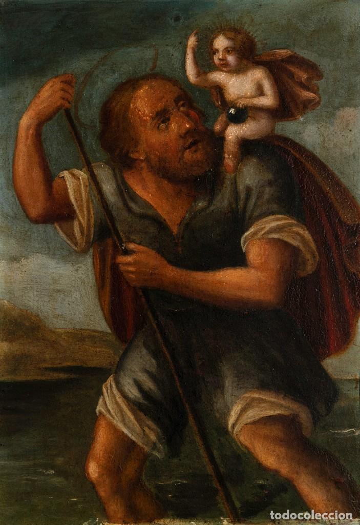 ÓLEO S/COBRE -SAN CRISTÓBAL-, ENMARCADO DE ÉPOCA. ESC BARROCA SEVILLANA S. XVII. DIM.- 25.5X20 CMS. (Arte - Pintura - Pintura al Óleo Antigua siglo XVII)