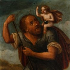 Arte: ÓLEO S/COBRE -SAN CRISTÓBAL-, ENMARCADO DE ÉPOCA. ESC BARROCA SEVILLANA S. XVII. DIM.- 25.5X20 CMS.. Lote 162432946