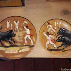 Arte: ARTESANIA VALENCIANA.EL CABAÑAL.TOROS.SAN FERMIN. PINTADO A MANO. MUY ANTIGUO.OLEO.PLATOS DE MADERA.. Lote 162464458