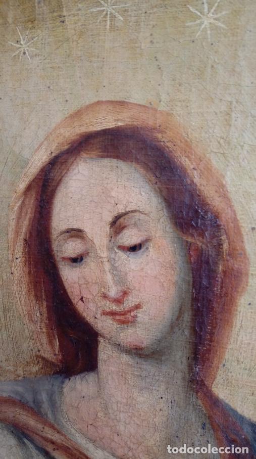 Arte: ÓLEO S/LIENZO -INMACULADA-, MUY BIEN ENMARCADO. ESC BARROCA SEVILLANA S. XVIII. DIM.- 105X81.5 CMS. - Foto 3 - 162475362