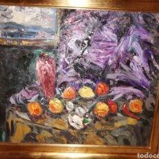 Arte: BODEGÓN CON CUADRO Y FRUTAS, OLEO SOBRE LIENZO DE JOAN ABELLÓ. Lote 162484848