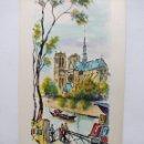 Arte: GOUACHE SOBRE CARTULINA BLANCA 70 X 33 CM. NOTRE DAME. PARÍS. DE SOLEDAD GÓMEZ. Lote 162491438