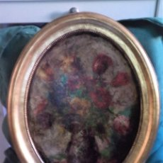 Arte: CUADRO OVALADO, OLEO SOBRE TABLA, JARRÓN CON FLORES, MARCO DE MADERA PAN DE ORO. Lote 162630926