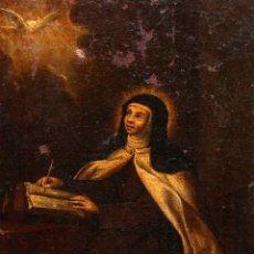 Art: ESCUELA ESPAÑOLA DEL SIGLO XVIII. OLEO SOBRE TELA REPRESENTANDO A SANTA TERESA.. Lote 162853658