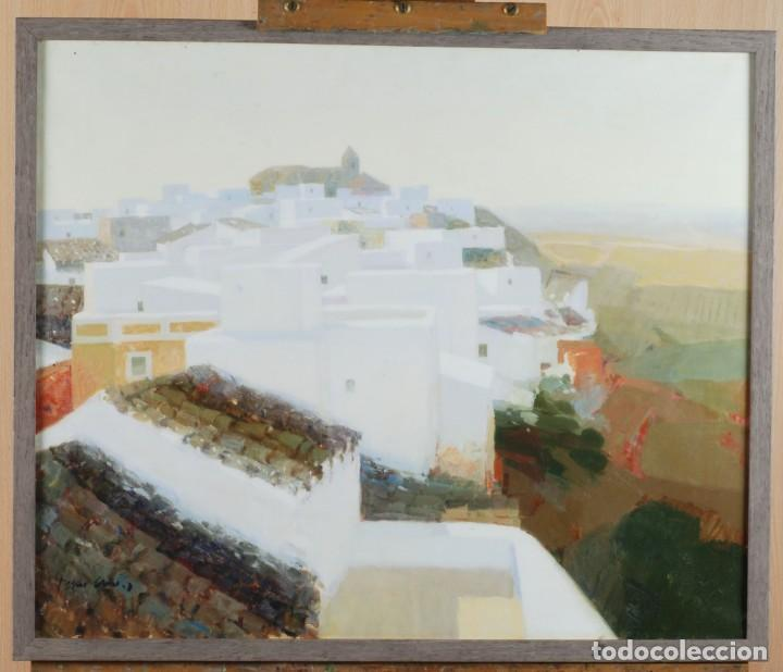 OLEO LIENZO PUEBLO ANDALUZ MANUEL TOSAR GRANADOS CADIZ 1945 (Arte - Pintura - Pintura al Óleo Contemporánea )