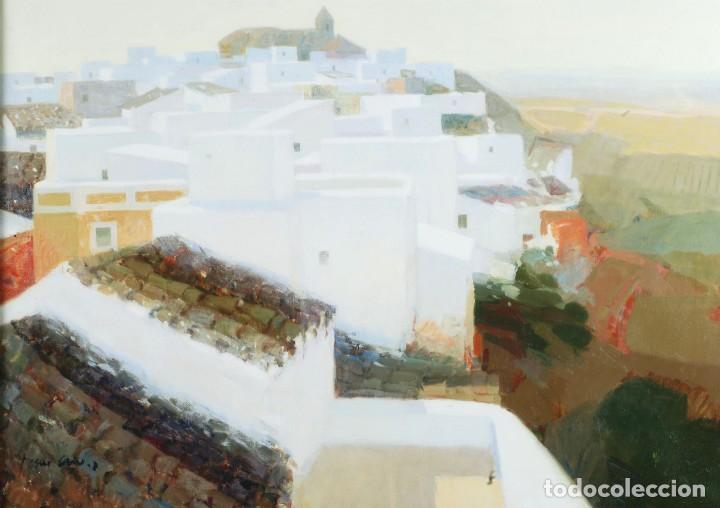 Arte: Oleo lienzo pueblo andaluz Manuel Tosar Granados Cadiz 1945 - Foto 2 - 162910202