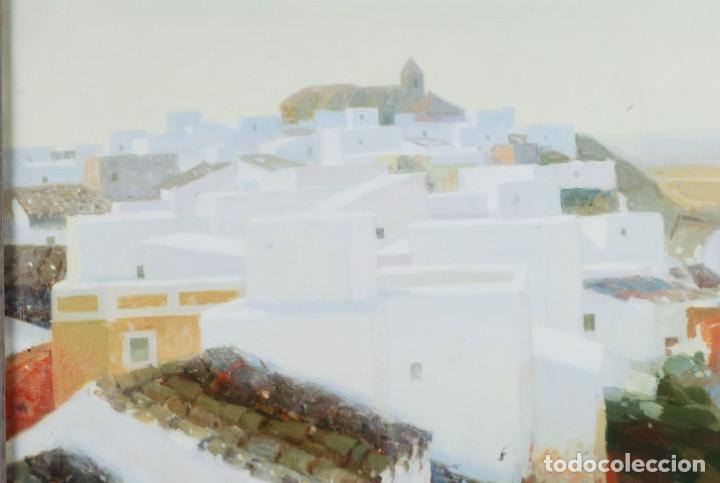 Arte: Oleo lienzo pueblo andaluz Manuel Tosar Granados Cadiz 1945 - Foto 3 - 162910202
