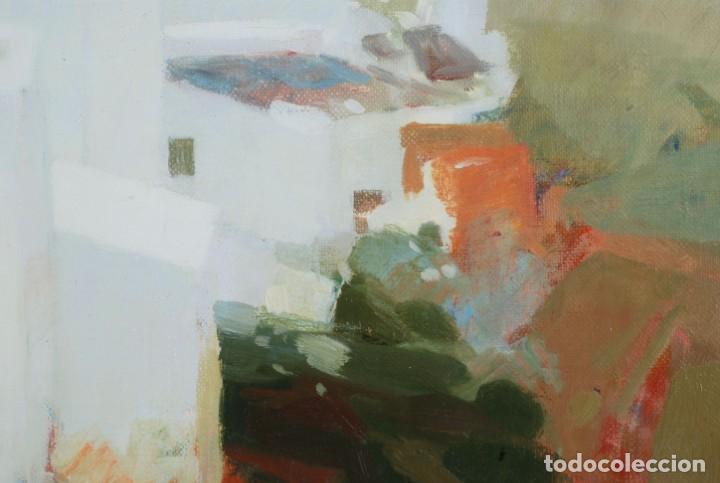Arte: Oleo lienzo pueblo andaluz Manuel Tosar Granados Cadiz 1945 - Foto 4 - 162910202