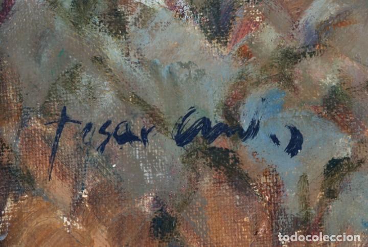 Arte: Oleo lienzo pueblo andaluz Manuel Tosar Granados Cadiz 1945 - Foto 5 - 162910202