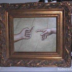 Arte: EXCELENTE OLEO SOBRE TELA. HIPERREALISMO CRÍTICO-SIMBÓLICO. LA CREACIÓN DE ADÁN.. Lote 162972094