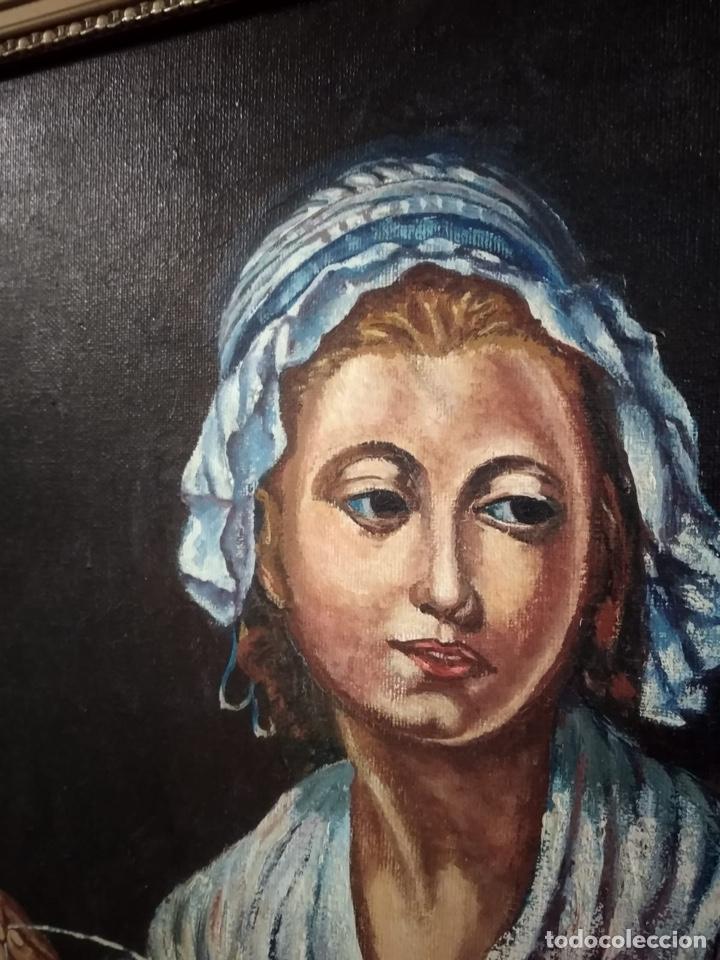 Arte: Magnifico óleo sobre lienzo a identificar, firmado - Foto 2 - 162974488