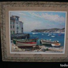 Arte: EZEQUIEL TORROELLA ( PALAMOS 1921- 1988 ) OLEO/TELA, PRECIOSA MARINA. FIRMADO. Lote 163015710