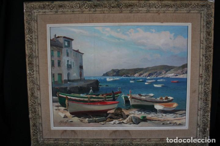 Arte: EZEQUIEL TORROELLA ( PALAMOS 1921- 1988 ) OLEO/TELA, PRECIOSA MARINA. MEDIDAS, 61,5 X 46 - Foto 7 - 163015710
