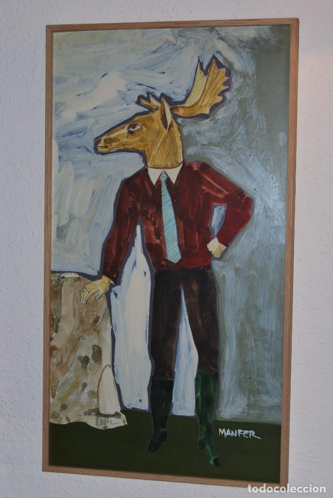 DIBUJO MANFER - ACRÍLICO SOBRE CARTÓN - FIGURA MASCULINA CON CABEZA DE ALCE - MANUEL FERNÁNDEZ LÓPEZ (Arte - Pintura - Pintura al Óleo Contemporánea )