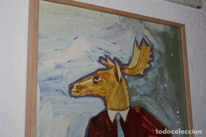 Arte: DIBUJO MANFER - ACRÍLICO SOBRE CARTÓN - FIGURA MASCULINA CON CABEZA DE ALCE - MANUEL FERNÁNDEZ LÓPEZ - Foto 2 - 163020934