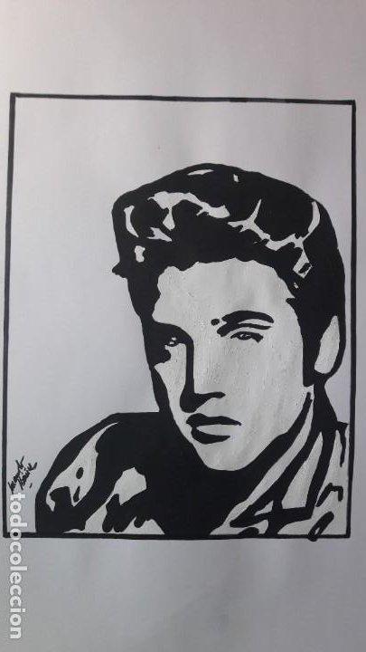 Arte: MANOLO IBÁÑEZ. ELVIS.ACRILICO SOBRE PAPEL 65 X 50 CM. - Foto 8 - 163326702