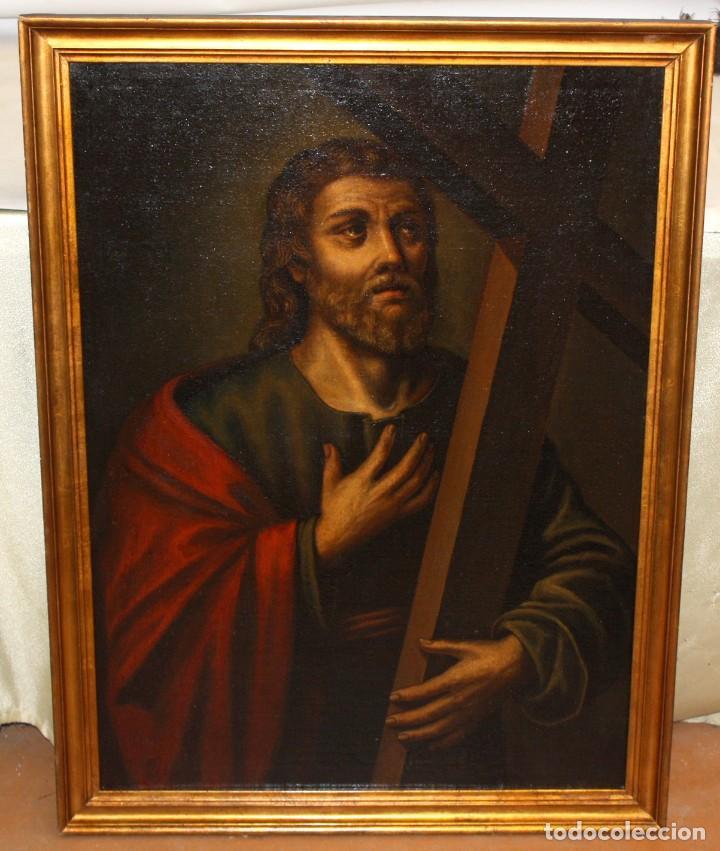 Arte: ESCUELA ESPAÑOLA DEL SIGLO XVIII. OLEO SOBRE TELA. SANTO CON CRUZ - Foto 2 - 163365670