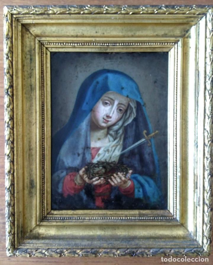 Arte: Virgen Dolorosa, Óleo sobre cobre S. XVIII - Foto 3 - 160485586