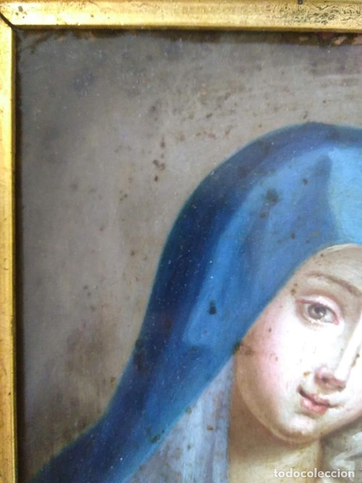 Arte: Virgen Dolorosa, Óleo sobre cobre S. XVIII - Foto 18 - 160485586