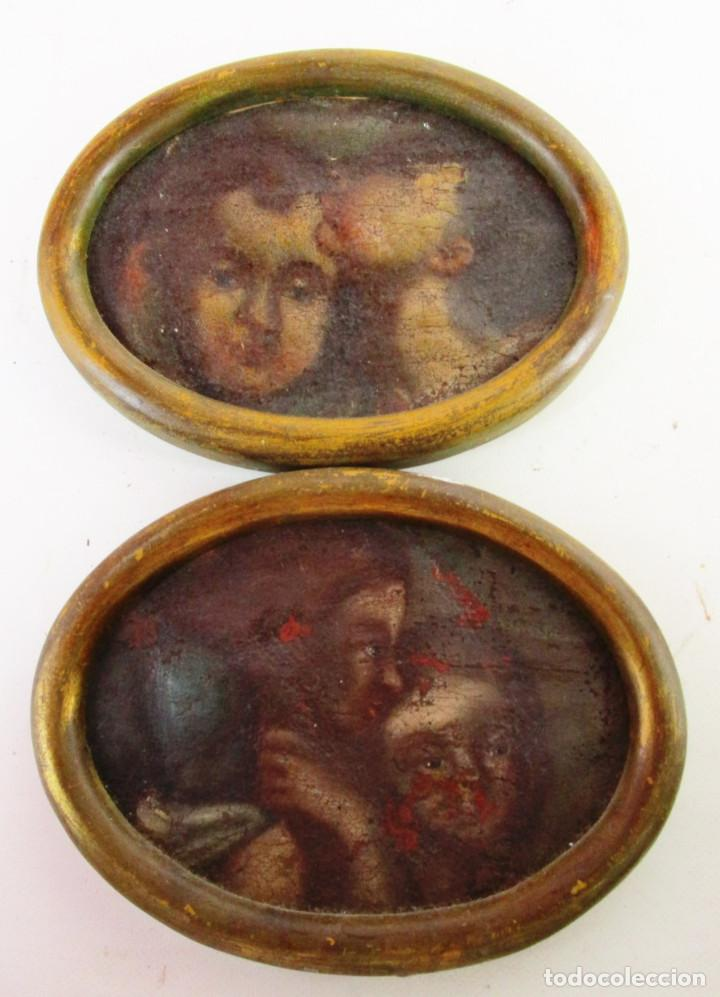 PAREJA CUADROS PINTURAS DETALLES DE OLEOS RELIGIOSOS PINTURA ESPAÑOLA S XVI SVII ANGELOTES (Arte - Pintura - Pintura al Óleo Contemporánea )