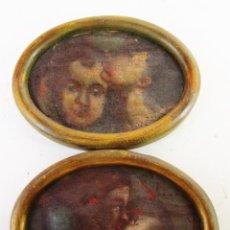 Arte: PAREJA CUADROS PINTURAS DETALLES DE OLEOS RELIGIOSOS PINTURA ESPAÑOLA S XVI SVII ANGELOTES. Lote 165181294