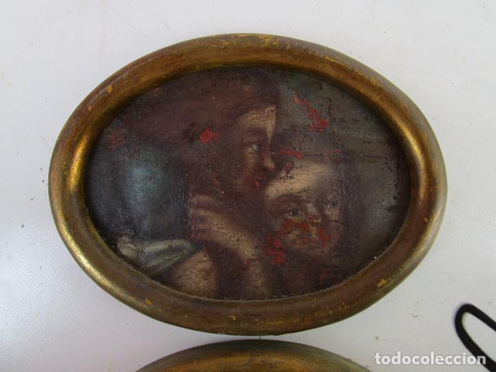 Arte: PAREJA CUADROS PINTURAS DETALLES DE OLEOS RELIGIOSOS PINTURA ESPAÑOLA S XVI SVII ANGELOTES - Foto 2 - 165181294