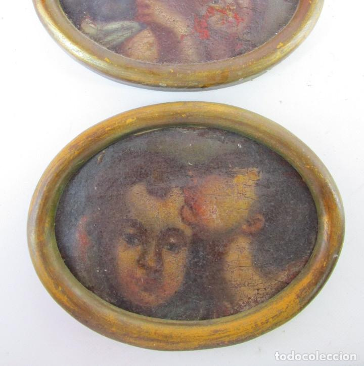 Arte: PAREJA CUADROS PINTURAS DETALLES DE OLEOS RELIGIOSOS PINTURA ESPAÑOLA S XVI SVII ANGELOTES - Foto 4 - 165181294