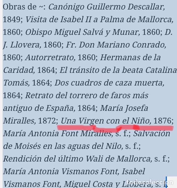 Arte: Oleo virgen de Juan maestre y Bosch año 1875(pieza en Mallorca para verla)(Mallorca) - Foto 29 - 163477841