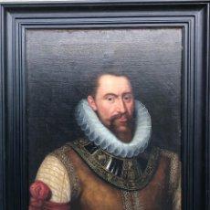 Arte: ATRIBUIDO A FRANS POURBUS, SIGLO XVI 16, RETRATO DE CONDE CARLO DE MANSFELD, ANTIGUO EXCELENTE. Lote 163490086
