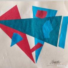 Arte: DECORATIVO COLLAGE ORIGINAL ESTILO CONSTRUCTIVISTA, POSIBLEMENTE ESCUELA RUSA, FIRMADO. Lote 163507634