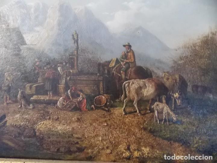 Arte: ESPECTACULAR Y ANTIGUO OLEO SOBRE TABLA SIGLO XIX XVIII ESCENA GRANJA RUSIA - Foto 6 - 163512290