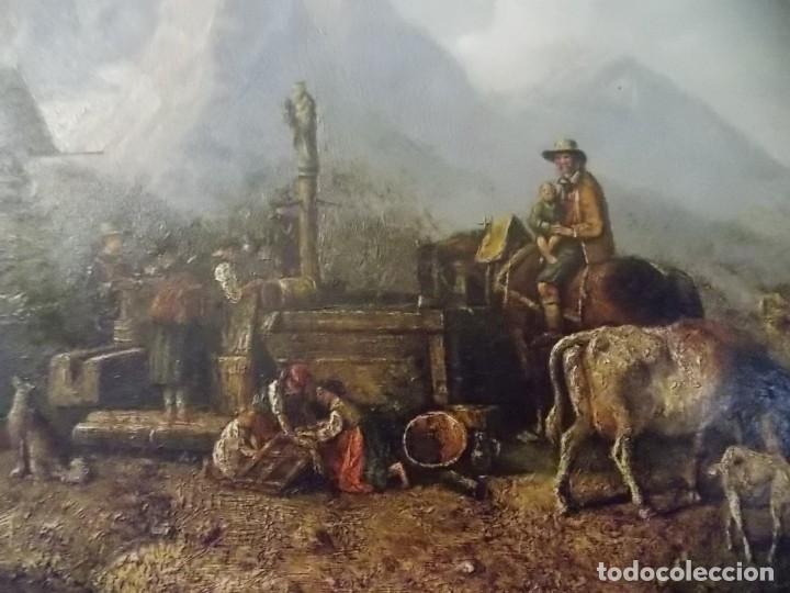 Arte: ESPECTACULAR Y ANTIGUO OLEO SOBRE TABLA SIGLO XIX XVIII ESCENA GRANJA RUSIA - Foto 8 - 163512290