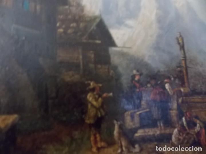 Arte: ESPECTACULAR Y ANTIGUO OLEO SOBRE TABLA SIGLO XIX XVIII ESCENA GRANJA RUSIA - Foto 7 - 163512290